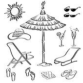 Summer objects, outline
