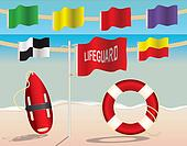 Lifeguard Equipment and Warning Flags on the Beach