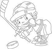 funny boy hockey outlined