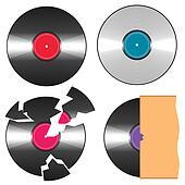 Vector black vinyl records