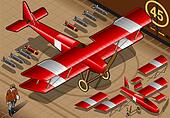 Isometric Red Biplane Landed