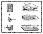 Kitchen tools and roast meat preparation of the past:lamb, chick