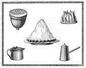 Engravings of kitchen tools for dessert, meringues cake, coffee and milk pot.