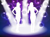 Partying girl silhouettes