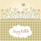 Easter greeting card with spring flowers