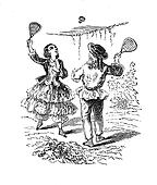 A girl and a boy playing featherball
