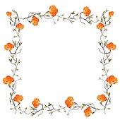 Orange floral border with white copy space