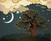 Cartoon clouds, moon and tree