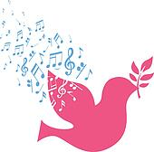 flying dove with peace musical note