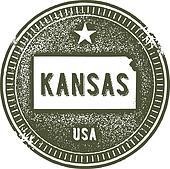 Kansas USA State Stamp