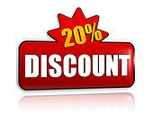 20 percentages discount 3d red banner with star
