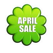 April sale green flower label