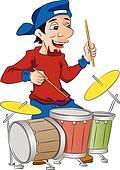 Man Playing Drums, illustration