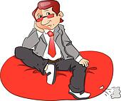 Vector of a thoughtful businessman sitting on bean bag.