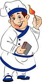 Vector of smiling chef holding a lit matchstick.
