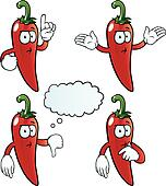 Thinking chili pepper set