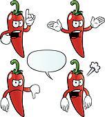 Angry chili pepper set
