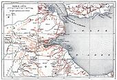 Topographical Map of Obock in Djibouti, vintage engraving