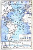 Map of the Atlantic Ocean, vintage engraving