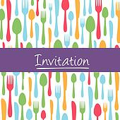 Dinner invitation card with cutlery