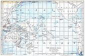 Map of the Pacific Ocean, vintage engraving