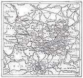 Topographical Map of Oise, in France, vintage engraving