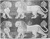 Byzantine Lion Mosaic at the Basilica of San Vitale in Ravenna, Italy, vintage engraved illustration. Industrial Encyclopedia - E.O. Lami - 1875