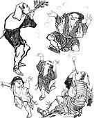 The Soap Bubbles - Japanese Caricature, vintage engraving
