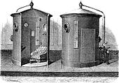 Pneumatic device for compressed air baths, vintage engraving