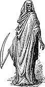 Death or the Grim Reaper, vintage engraving