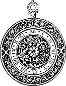 Watch Dial, vintage engraving