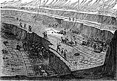 Open-pit Mining, vintage engraving