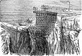 Mining Installation on a Cliff, vintage engraving