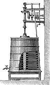 Clyburn Steam-driven Butter Churn, vintage engraving
