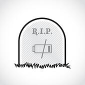 Gravestone, rest in peace, dead battery - illustration