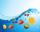 Fresh Fruit Vector in the Water