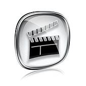 movie clapperboard icon grey glass, isolated on white background.