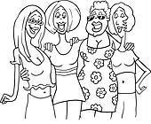 women friends cartoon illustration