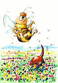 Dog and bee