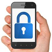 Information concept: Closed Padlock on smartphone