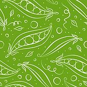 Green peas seamless pattern. Vector illustration