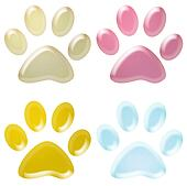 set of colourful pet paws