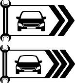 set of road sign of car repair