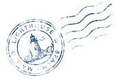 Stamp Lighthouse Beach Mail (Grunge design)