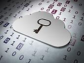 Cloud computing concept:  Cloud Whis Key on Binary Code background, 3d render