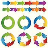 Set of vibrant circle diagrams
