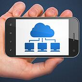 Cloud technology concept: Cloud Network on smartphone