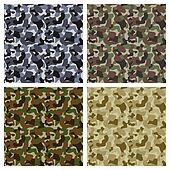 Set Of Classic Camouflage Seamless Patterns. Original Texture, Background. Vector Illustration