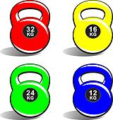 Colored kettlebells on white
