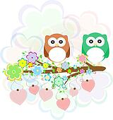 Background with owls, tree branches and flowers
